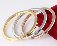 Heavy 3pcs/ Set Women 4mm Solid Cuff Bangle Stainless steel 68mm Bracelet Silver/Gold/Rose Gold for wide / mother Gifts