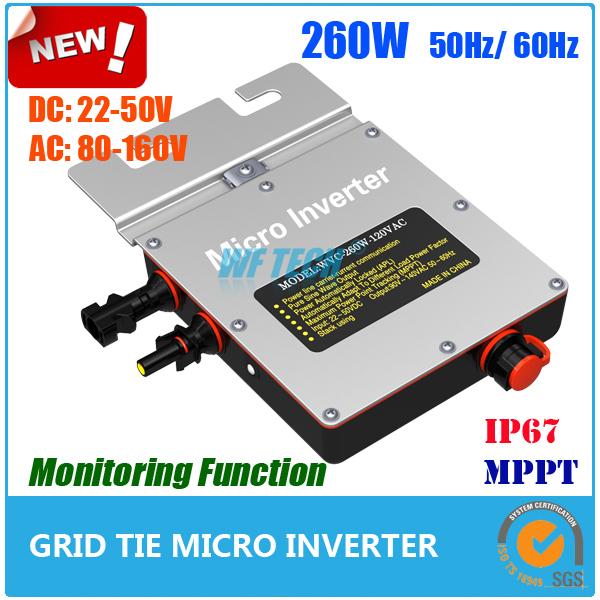 New Design! 22-50VDC 90-160VAC 260w Grid Tie Inverter with MPPT, IP67 Micro Grid Tie Inverter with Communication Function(China (Mainland))