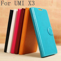 6 color Crocodile grain shell  Leather Case for UMI X3 Flip cover holster Diamond rhinestone button