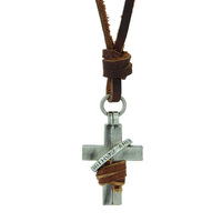 100% Genuine Leather Necklace Men Retro Cross Necklace Punk Vintage Jewelry Handmade Pendant  CLPS032