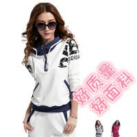 Sportswear set women's spring and autumn slim fashion plus size sweatshirt casual long-sleeve autumn
