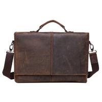 """Man Bag Genuine Leather Briefcase For Notebook 13"""" Designer Messenger Bag Brown Office Bag Retro Stylish 1079"""