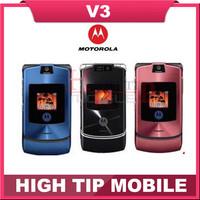 100% unlocked Original Motorola v3 mobile phone English&Russian keyboard support Refurbished Free Shipping 1 year warranty
