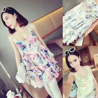 Small fashion summer normic flower spaghetti strap sweep chiffon one-piece dress female