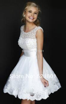 Новый 2014 белое короткое свадебные платья невесты сексуальные кружева свадебное платье свадебное платье плюс размер свадеб слоновой кости Vestido де Noiva 112