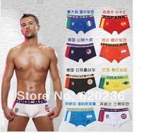 Free shipping hot new men's boxer shorts men's World Cup national flag 50pcs/lot men's underwear