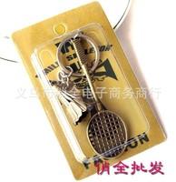 Free shipping!30 pcs new fashion Badminton racket key chain key ring