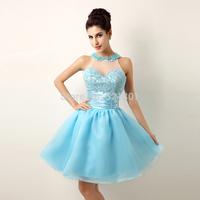Red dress new 2014 neck short bridesmaid dress party dresses vestidos de fiesta prom dresses abendkleider fast shipping 118