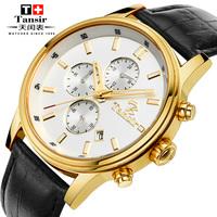 Tansir strap watch male ultra-thin commercial men's watch stainless steel waterproof quartz watch