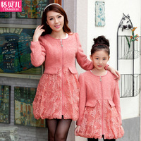 Fashion autumn family 2014 winter family set lace woolen outerwear girls clothing