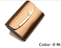 2014 Cheap cards bag women card holder genuine leather japanned leather candy color cowhide bank card case credit bag free