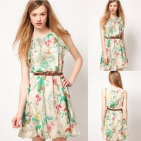 Free Shipping 2014 New Arrivals Women's Clothing Chiffon Flower Pattern Summer Fashion Sleeveless Mini Dress With Belt S-XL 0243