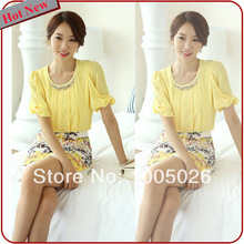 Yellow Short Sleeve Blouse 46