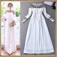 HIGH QUALITY New Fashion 2014 Women's Long Sleeve Luxury Beaded Sweet White Elegant Formal Dress Maxi Long Dress