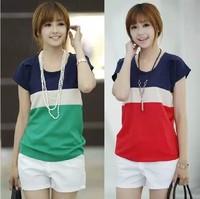 free shipping 2014 summer women's plus size loose color block chiffon shirt short-sleeve chiffon top shirt female basic shirt