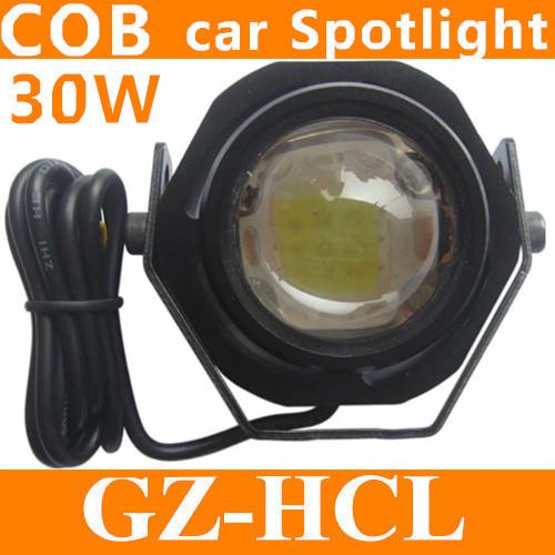 COB 30W Led Spotlight Car Truck Motorcycle Auxiliary Headlight 12V DIY eagle eye Fog lamp DRL Daytime reverse backup light(China (Mainland))
