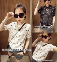 2014 summer hot sale fashion dogs printed chiffon shirts Loosen short sleeve o-neck balck and write Free Shipping