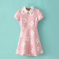 Ms cherry 2014 women's fashion flower puff sleeve peter pan collar one-piece dress