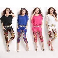 New Fashion Women's Suits 2014 Summer Set Print Chiffon Twinset Female Suits