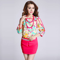 New Fashion Women's Suits 2014 Spring Female Paillette Chiffon Print Skirt Set With Necklace
