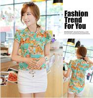 Hot Sale 2014 casual women blouse short-sleeve floral print chiffon blouse top, summer shirts M/L/XL/XXLdropshipF6003