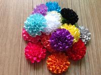 Hair accessory Baby Girls 120pcs/lot DIY Mini 5.5cm Chiffon Satin Flowers Carnation Flower Shoes hat Flat back/With clip