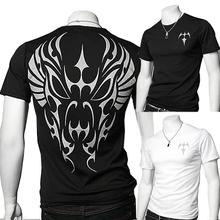 New Rushed Short Cotton Fashion Dobby V-neck Tshirt 2014 A30 Slim Print Short-sleeve T-shirt T Men's Clothing Shirt