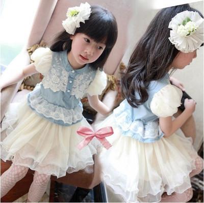 BABY Girls Blue Denim Multilayer Gauze Party Princess Lace Tutu Dress 2-6 Y(China (Mainland))
