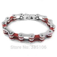 Free shipping! Bling Motorcycle Bracelet Stainless Steel Jewelry Fashion Silver & Red Motor Biker Bracelet SJB0149