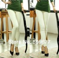2014 new spring fashion free shipping ninth capris pencil pants Stretch leggings big size high waist trousers black white