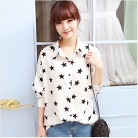 Summer 2014 fashion turn-down collar long-sleeve chiffon shirt single breasted casual shirt basic shirt