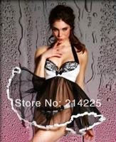 sexy Women Lady Sheer Deep V-neck Halter Backless Dress Lingerie Babydoll Sleepwear Night Wear+G-String Set  M111