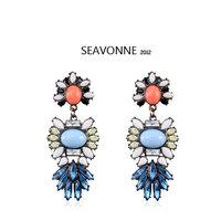 Freeshopping 2014 New Semi precious stones Resin Flower Pendant Earrings female Earrings for Women Jewelry  dropshipping E