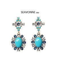 Freeshopping 2014 New Design Fashion blue crystal Beads Drop Earrings for womenJewelry Earrings dropshipping E
