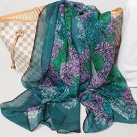 108004 180x65cm 2014 Newest Women'sSilk Chiffon Scarf, 100% Silk scarves, rectangle silk scarf, Free Shipping