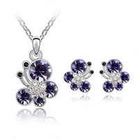 High Quality Austrian Crystal Jewelry Set Silver Earrings Gold Necklace & Pendants Wedding Jewelry Set ML-458