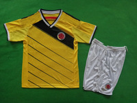 Top Thai Quality 2014 World Cup Colombia Home Kids Soccer Children Football Jerseys FALCAO JAMES Youth Soccer Uniforms Free Ship
