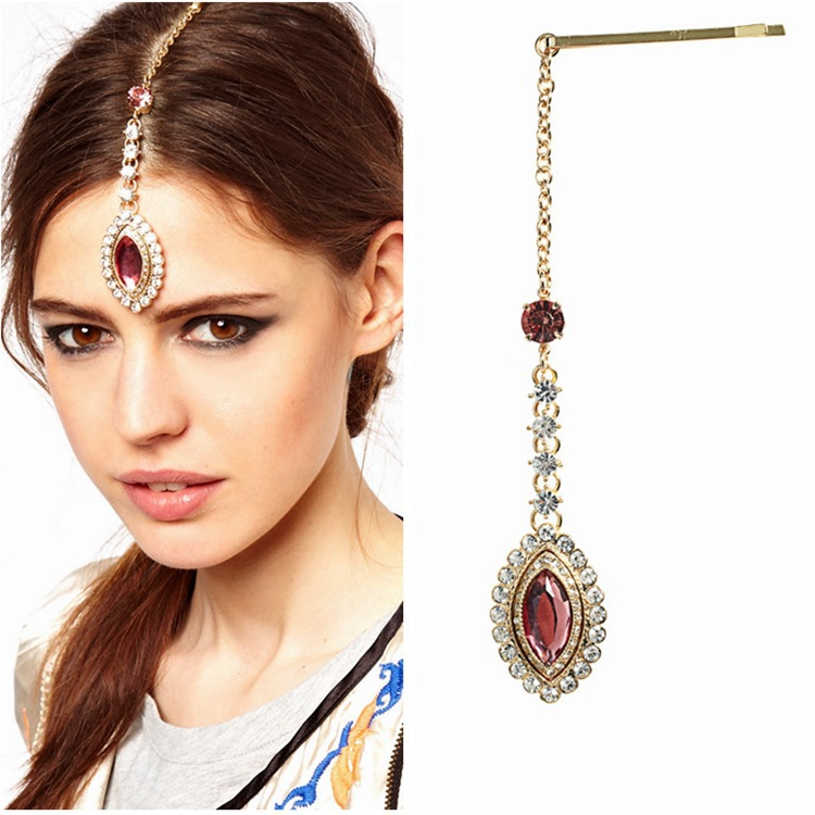 Indian Bridal Hair Accessories Full Rhinestone Gem Hairgrips Head Jewelry