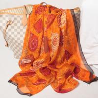 108010 180x65cm 2014 Newest Women'sSilk Chiffon Scarf, 100% Silk scarves, rectangle silk scarf, Free Shipping