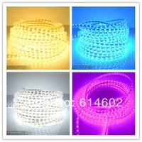100M Waterproof 60LEDs/m 220V 3528 LED Strip light Flexible Ribbon LED Red blue yellow green white +Power plug