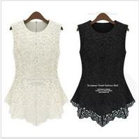 new 2014 spring summer women's Fashion short-sleeve lace shirt basic shirt doll chiffon blouse top sleeveless Free Shipping