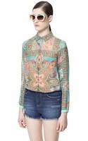 New 2014 Women Chiffon Sexy printing Print Summer long sleeve Shirt Top Button Down Blouse