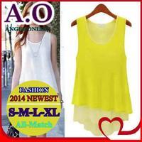 New 2014 spring & summer sexy women blouse fashion cozy chiffon sleeveless loose casual shirt plus size S-M-L-XL