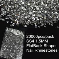 Wholesales 10packs 20000pcs/pack 1.5mm 3D Nail Art Rhinestones Glitter Clear Nail Decorations Not Hot Fix Flatback Acrylic DIY