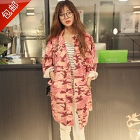 2014 spring and summer desigual women medium-long pink Camouflage coat denim overalls print trench female cardigan Free Shipping