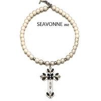 New Fashion 2014 European style crystal cross pearl necklace women fashion statemen