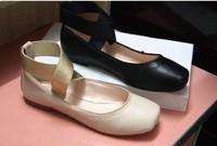 elegant women flat heel shoes  designer genuine sheep leather cross bandage shoes free shipping
