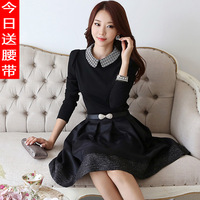 HOT! 2014 autumn and winter elegant slim thicken warm long-sleeve Peter Pan A dress from alibaba express free shipping