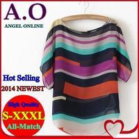 New 2014 spring & summer Multi-colour printed Stripe casual Batwing Sleeve Chiffon Shirt plus size S-XXXL irregular Blouse