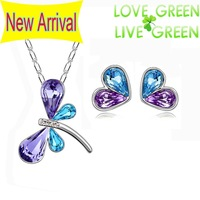 2014 new Brand design wedding Wholesale 18K Platinum Austrian Crystal dragonfly Pendant necklace earrings Jewelry Sets 80130